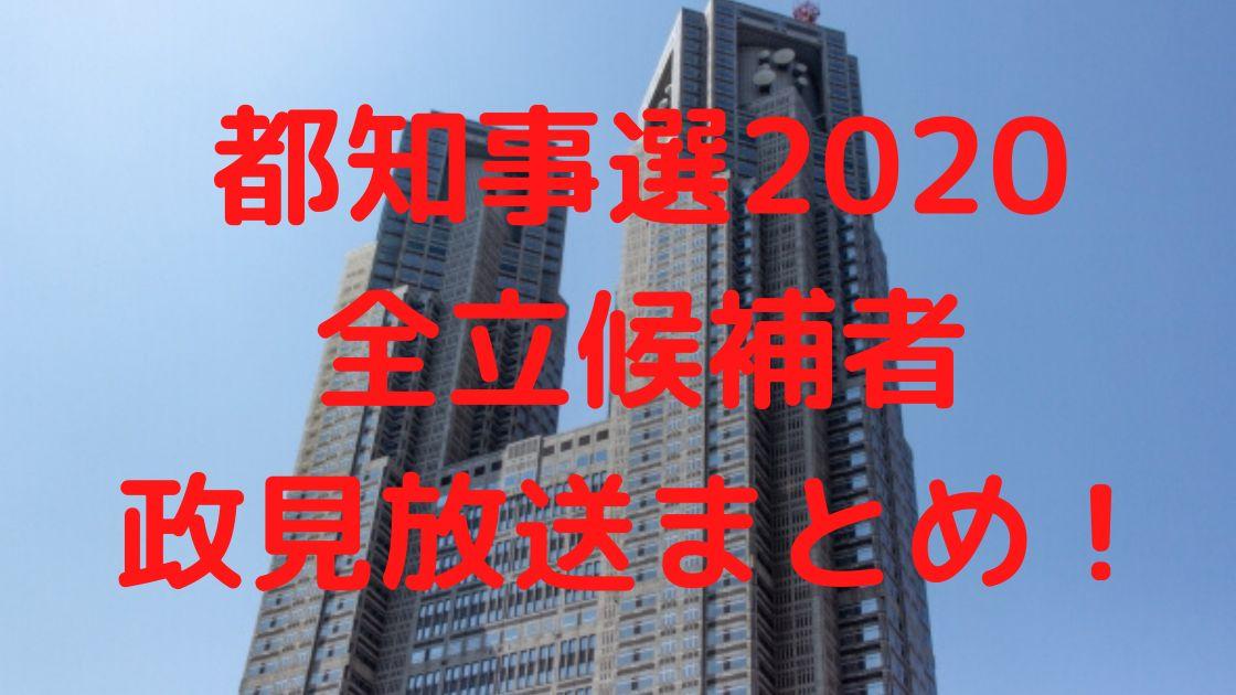 都知事選2020 立候補者 政見放送まとめ