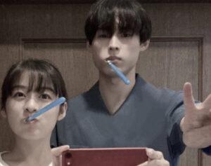 松本北斗 森七菜  歯磨きショット
