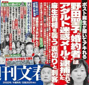 木村文信 野田聖子 夫 週刊文春 逮捕